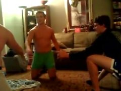Str8 Guys Just Wrestle in Underwear, One Guy Balls Pop Out