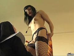 Horny nun puts the faith back into her sexy slave