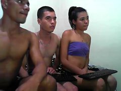 Homemade hot amateur threesome on webcam