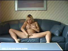French Canadian blonde stretched by big brutal dildo