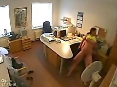 Secretaris Fucking gevangen op Security Camera