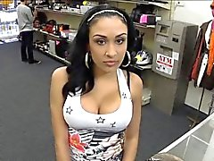 Big titty latina pawns her pussy and nailed at the pawnshop