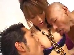 Slender Japanese tranny indulges in hard anal sex with two