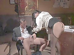 Hot secretary fucked in pantyhose