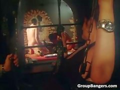 Jail group sex where two hot sluts fuck part2
