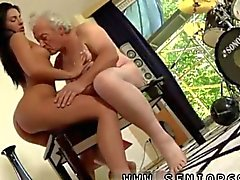 busty babe is with the old man fucking him