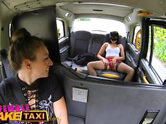 Female Fake Taxi Masked horny minx in slutty fishnets