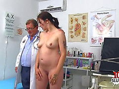 Brunette Hair doctor gaping and jizz flow