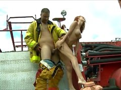 Petite Sweet Amy Lee fucks a fireman - Quebec pornstar