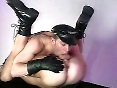 Leather muscle men playing with each others rock hard cocks!