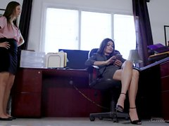 Attractive lesbians have a pussy licking session in the office