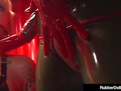 Military Latex RubberDoll Drills Blonde Captive!
