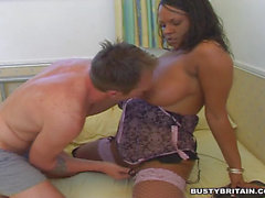 Ebony Shana Filled With White Cock