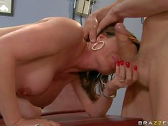 Busty Diamond gets slammed in medical office