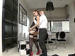 Stockings slut in glasses and heels