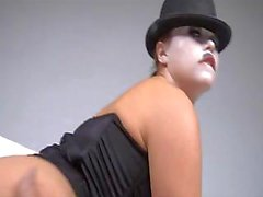Chaplin is back and sucking and fucking a hard cock in her hat