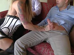 Hot woman in stockings Klarisa Leone gives handjob