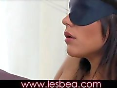 lesbea gorgeous woman in stockings blindfolded and fucked with strap-on