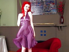 HeydiMar Uses her silk smell drooled dress! in front fan