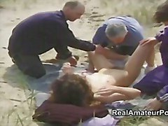 Outdoor group sex on the beach