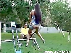Shemale Samira ass fucked in a public park