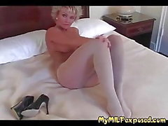 My MILF Exposed Hot blonde in pantyhose playing with pussy