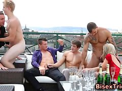 Rooftop bisex blowjobs and handjob