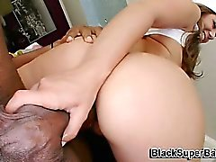 Brunette fucks big cock for the first time