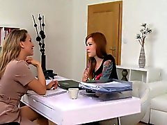 Slim tattooed redhead toyed in casting