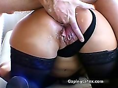 Dirty brunette slut goes crazy sucking