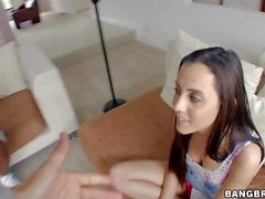 Petite playful brunette Roxanne Rae unzips black guy's jeans and