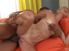 Skinny blonde grandma, Beata, gets it on with a well hung South Asian