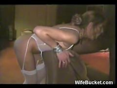 Blindfolded and cuffed wife fucked hard