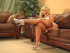 sexy big ass blonde with stockings