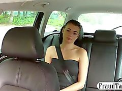 Beautiful hot babe fucked inside a taxi