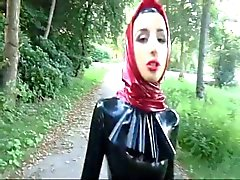 Mislim Latex Bitch Outside Walking