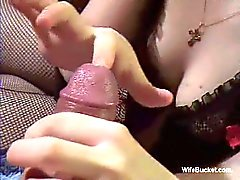 Handjob surprise from wife as she pokes finger in