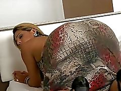Sexy shemale Suzi Barreto gets her anal pounded on the bed