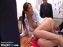 Japanese sexy office girl gangbang