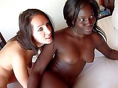 German girl and black girl fuck hotel waiter
