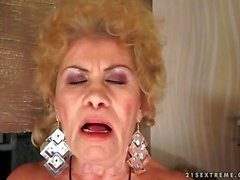 naughty busty granny masturbating