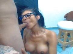 Big Boobs Latina Tgirl Sucks on BFs Hard Cock