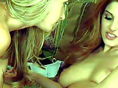 Busty slim blonde and brunette babes have hot Lesbian session