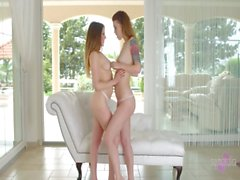 Misha Cross licks the pussy of her british girlfriend Samantha Bentley on the co