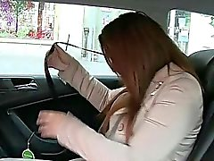 Chubby woman sucks the taxi drivers dick