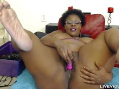 Ebony old mistress Laveaux with a fat hairy pussy