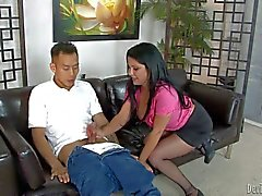 MILF Sophia Lomeli bounces on asian dick with her clothes on