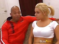 Blonde with big tits gets Blackzilla's dick in ass