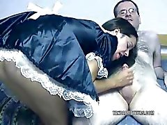 Sultry Maria dressed as a maid and riding a cock