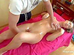 Slim hottie Louisie gets a full body massage and enjoys
